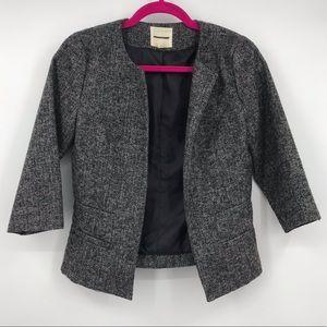 Silence + Noise 3/4 Sleeve Charcoal Blazer Jacket
